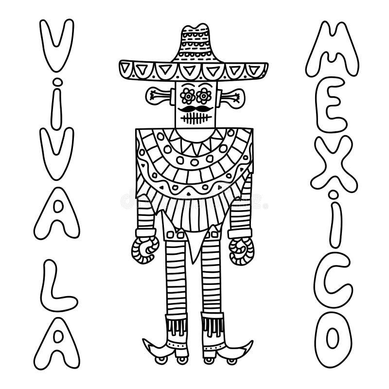 Mexicansk robot med sombreron royaltyfri illustrationer