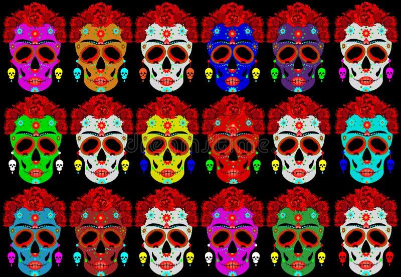 Mexicansk skalle, Calavera med blommor Garnering för dagen av dödaen, Diameter de los Muertos Ställ in allhelgonaaftonaffischbakg royaltyfri illustrationer