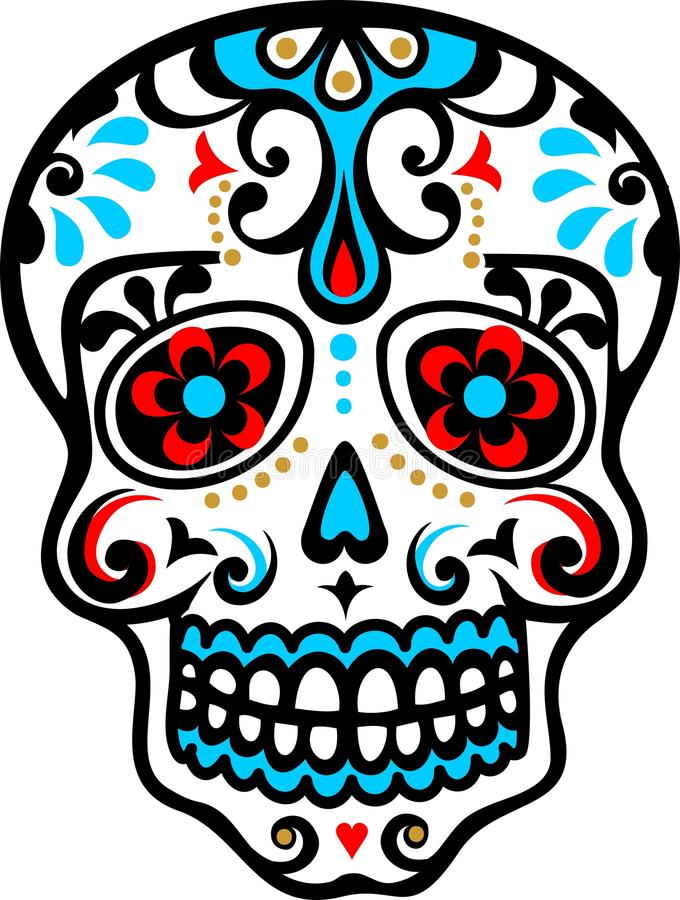 Mexicansk skalle royaltyfri illustrationer