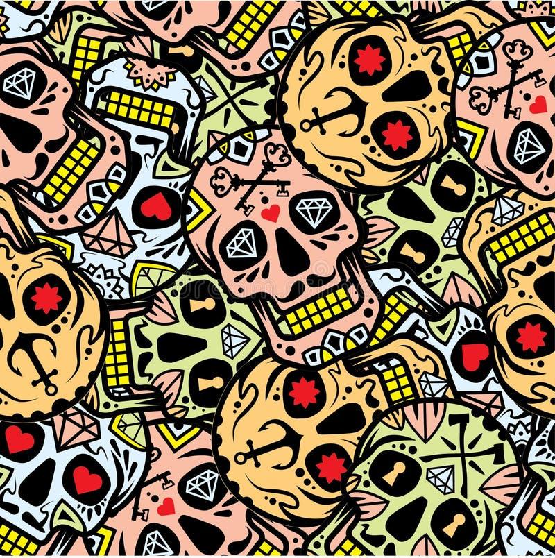 """Mexicansk sockerskalle, illustration för materiel """"för illustration†för materiel """"för Diameter de los Muertos symbolsset†royaltyfri illustrationer"""