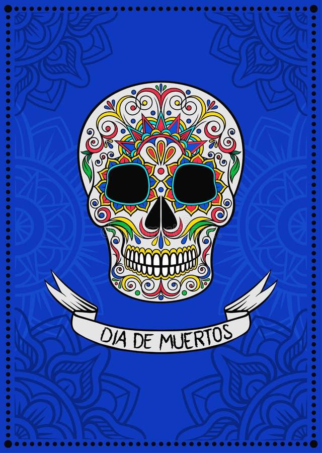 Mexicansk sockerskalle med den blom- modellen, Dia de Muertos, designbeståndsdel för affischen, illustration för vektor för hälsn royaltyfri illustrationer