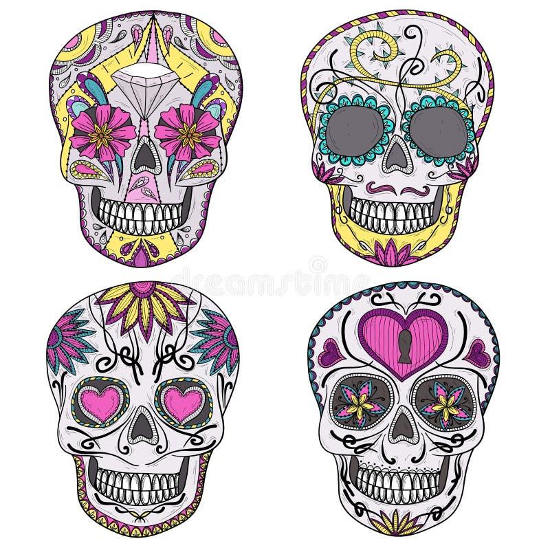 Mexicansk sockerskalleset royaltyfri illustrationer