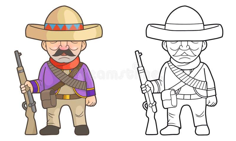 Mexicansk soldat med ett gevär i hans hand stock illustrationer