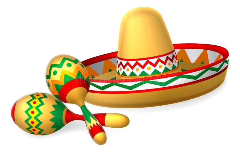 Mexicansk sombrerohatt och Maracas shaker stock illustrationer