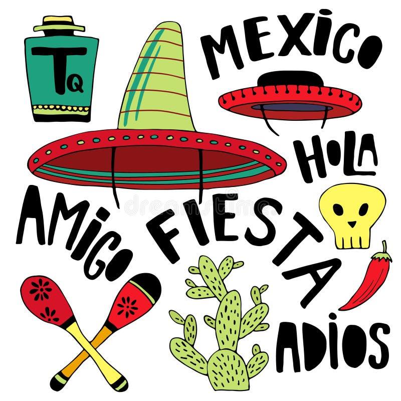 Mexicansk tecknad filmbeståndsdel- och ordsamling Cinco de mayo feriedekor Drog garneringar för klotter hand för din design royaltyfri illustrationer