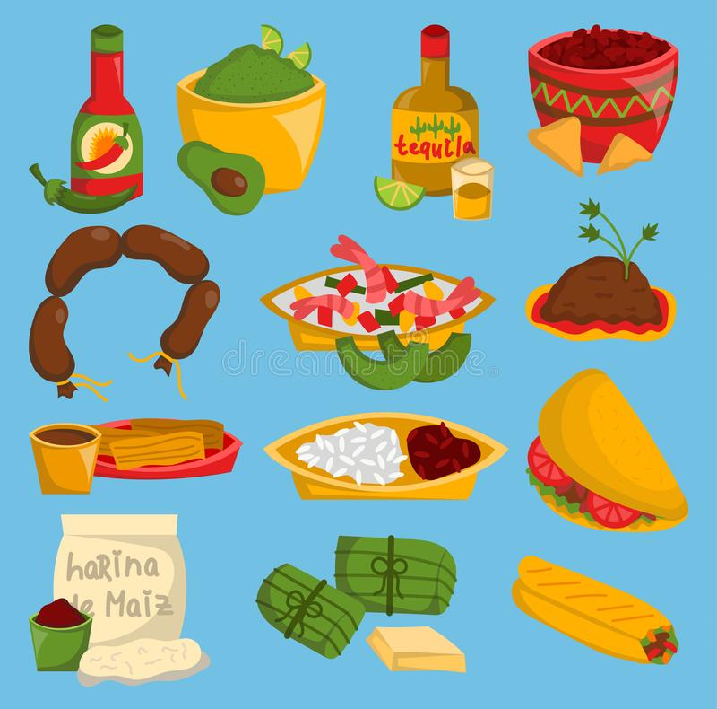 Mexicansk traditionell havre och kryddig pepparsalsa Mexico för tequilaen för avokadot för kött för vektormatkokkonst äter lunch  stock illustrationer