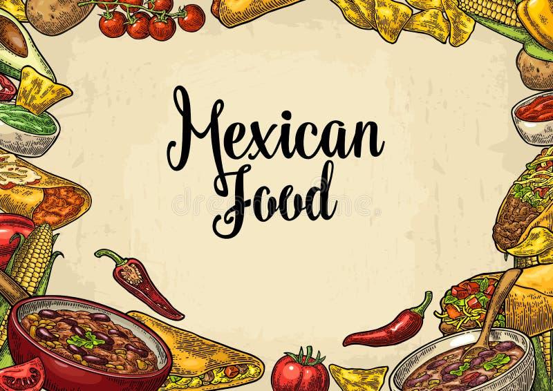 Mexicansk traditionell mall för matrestaurangmeny med ingrediensen royaltyfri illustrationer