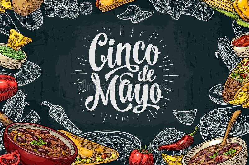 Mexicansk traditionell mall för matrestaurangmeny med ingrediensen stock illustrationer