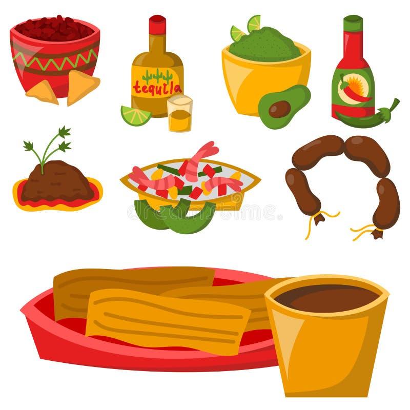 Mexicansk traditionell mat med illustrationen för vektor för kokkonst för sås för lunch för salsa för peppar för havre för köttav vektor illustrationer