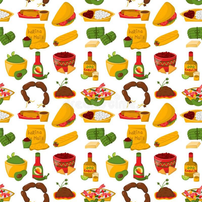 Mexicansk traditionell mat med vektorn för kokkonst för sås för lunch för salsa för peppar för sömlös bakgrund för modell för köt vektor illustrationer