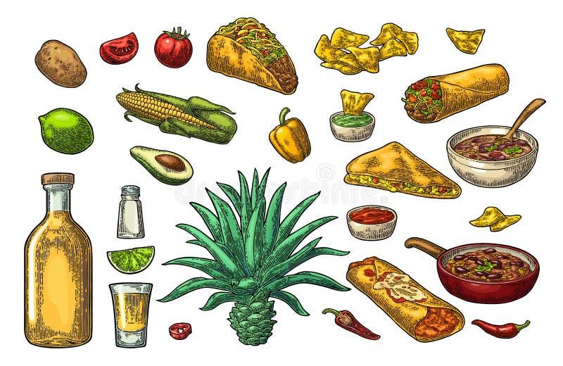 Mexicansk traditionell mat- och drinkupps?ttning Tequila Guacamole, Burrito, taco vektor illustrationer