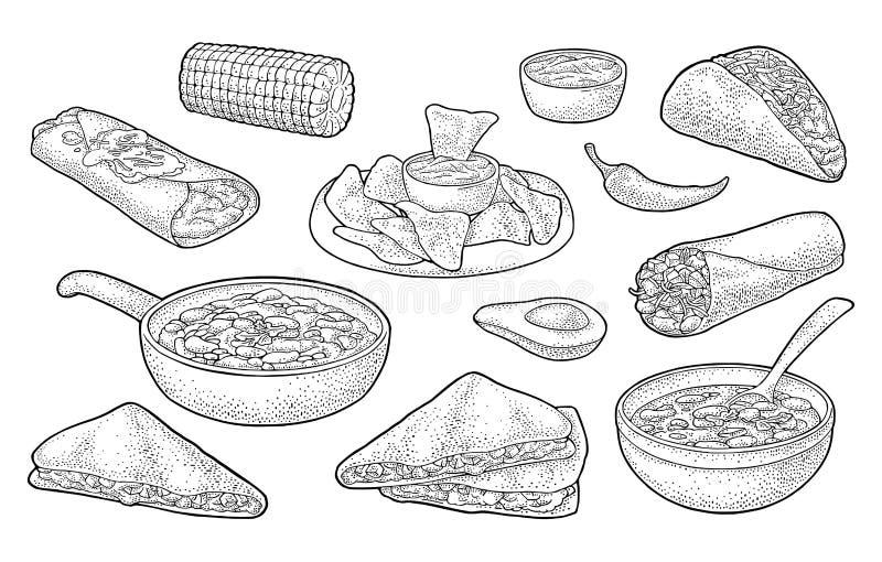 Mexicansk traditionell matuppsättning med Guacamole, Enchilada, Burrito, taco, Nachos stock illustrationer