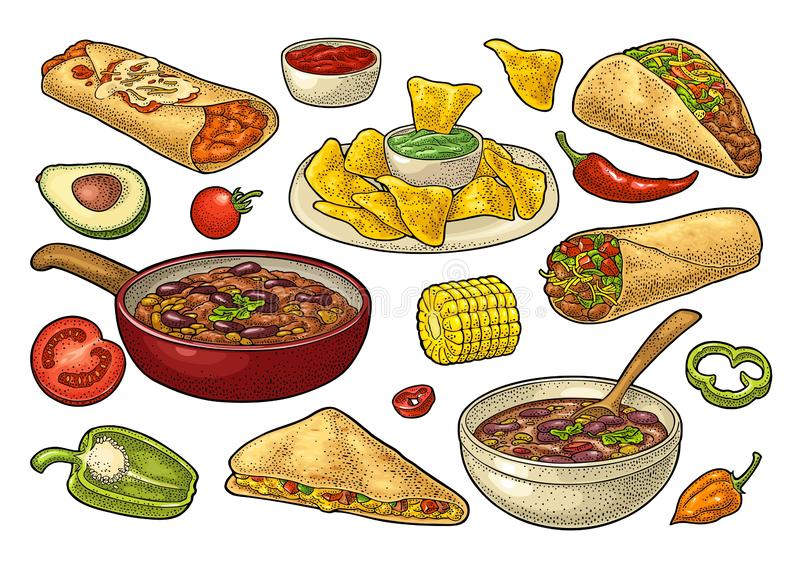 Mexicansk traditionell matuppsättning med Guacamole, Enchilada, Burrito, taco, Nachos vektor illustrationer