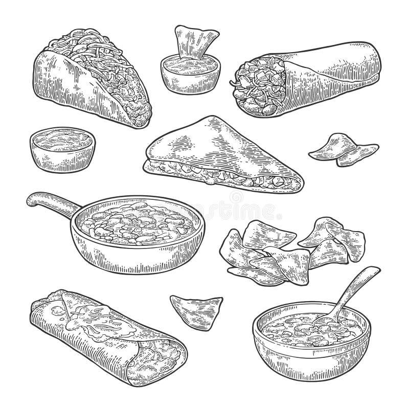 Mexicansk traditionell matuppsättning med textmeddelandet, burrito, taco, chili, tomat, nachos vektor illustrationer