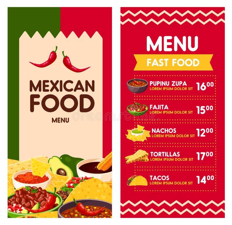 Mexicansk vektormeny för Cinco de Mayo ferie royaltyfri illustrationer