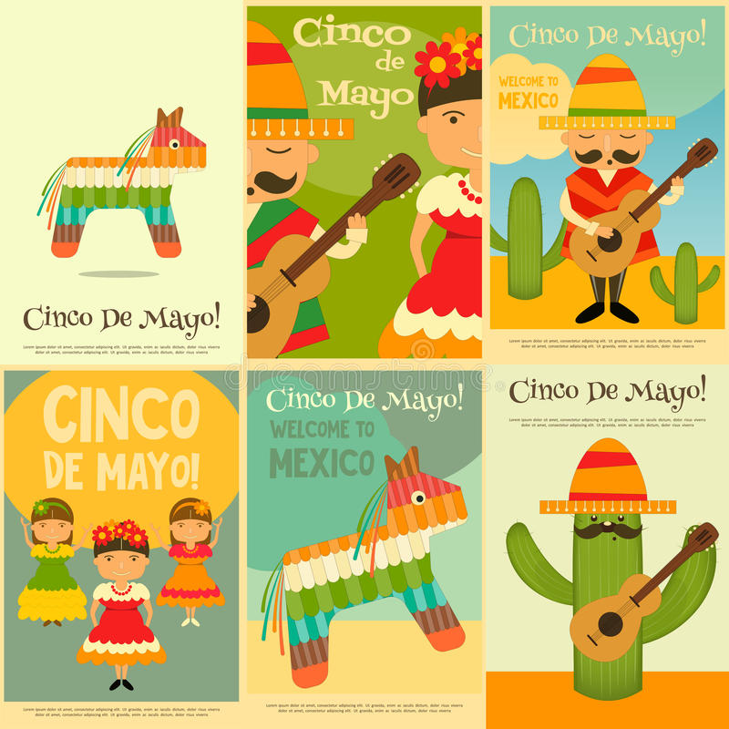 Mexicanska affischer royaltyfri illustrationer