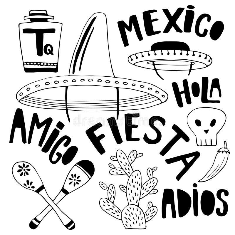 Mexicanska beståndsdelar och ordsamling Cinco de mayo feriedekor Drog garneringar för klotter hand för din design vektor illustrationer