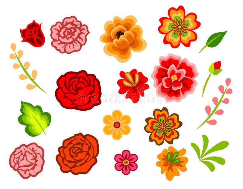 Mexicanska blommor stock illustrationer