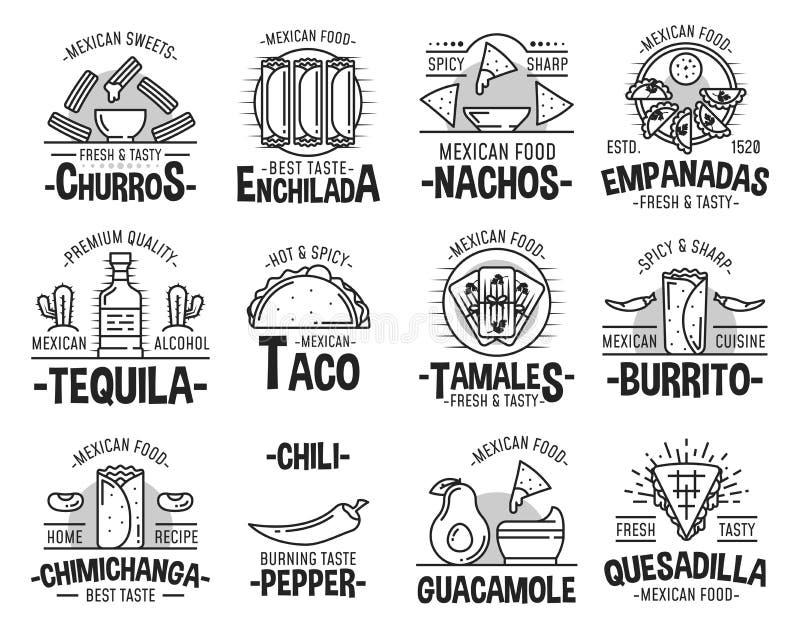 Mexicanska kokkonst- och snabbmatsymboler royaltyfri illustrationer