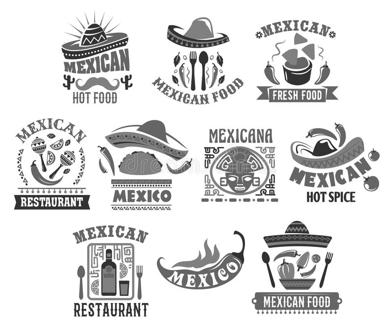 Mexicanska kokkonstvektorsymboler för restaurang stock illustrationer