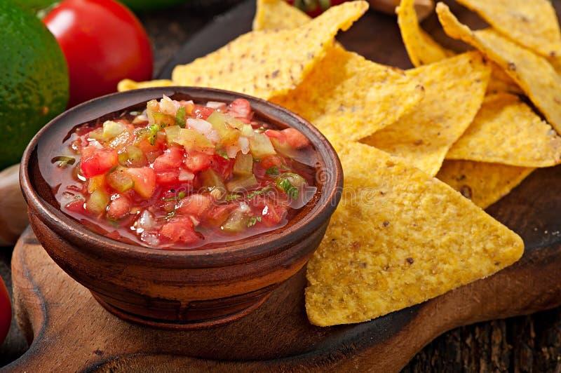 Mexicanska nachochiper och salsadopp royaltyfri fotografi