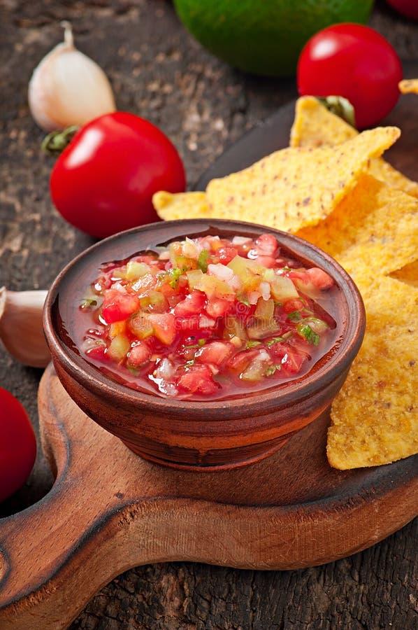 Mexicanska nachochiper och salsadopp royaltyfria foton