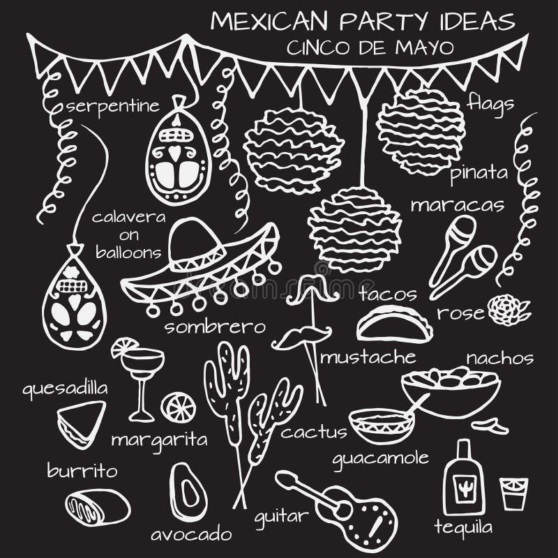Mexicanska partiidéer, beståndsdelar för cincode mayo vektor illustrationer