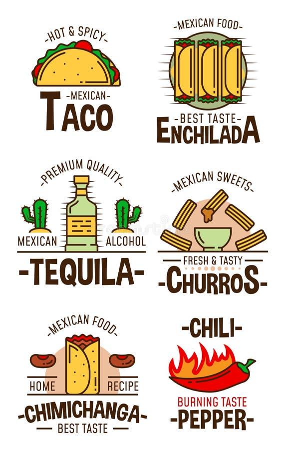 Mexicanska snabbmatmellanmål och efterrätter stock illustrationer