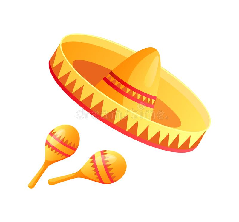Mexicanska symboler, Cinco de Mayo Mexican Holiday stock illustrationer