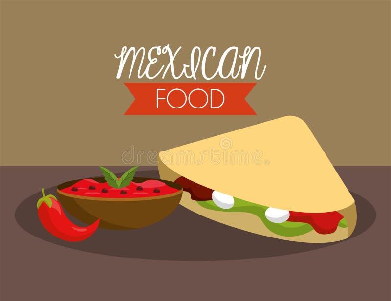Mexicanska taco med kryddig chilisås stock illustrationer