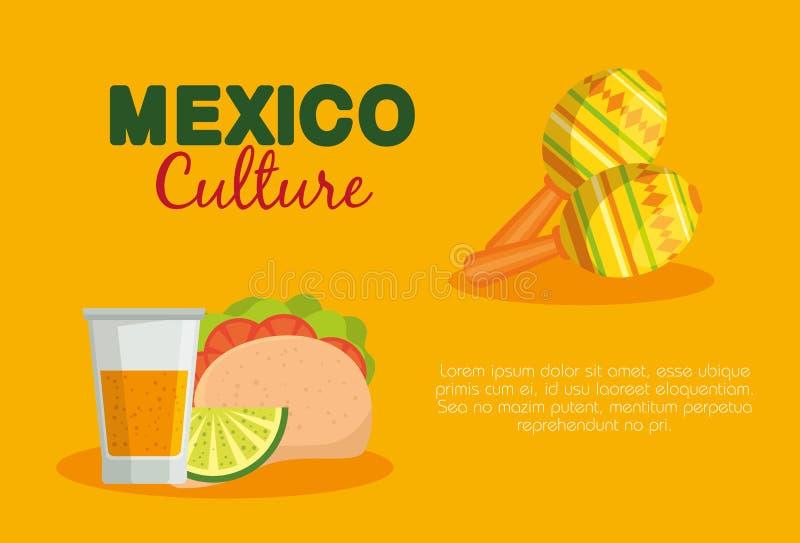 Mexicanska taco och tequila med maracas till händelsen vektor illustrationer