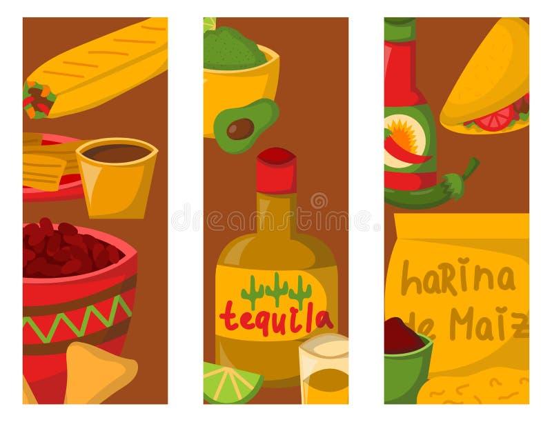 Mexicanska traditionella matkort med salsa för peppar för havre för köttavokadotequila kryddig äter lunch illustrationen för såsk stock illustrationer