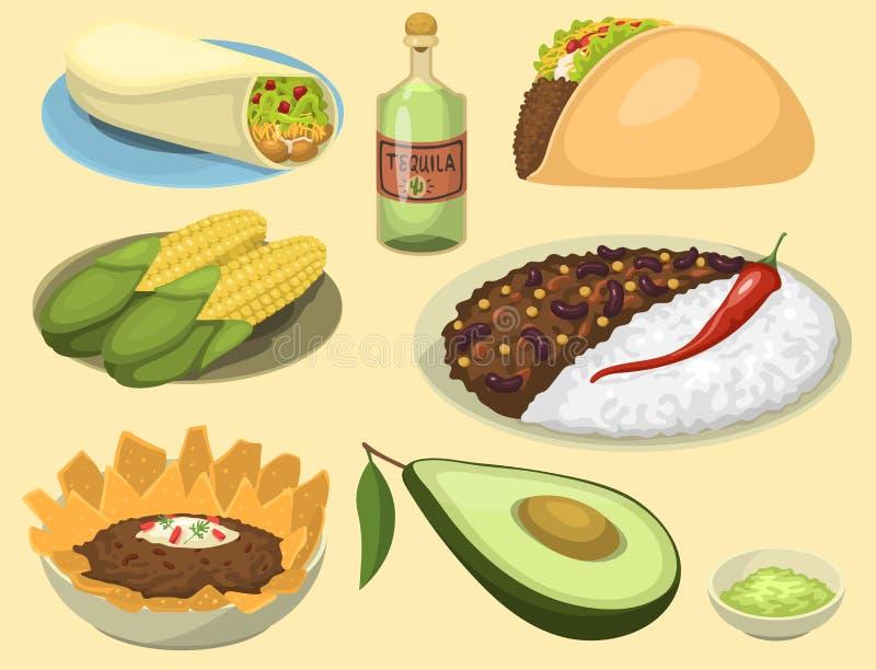 Mexicanska traditionella matmålplattor äter lunch illustrationen för vektorn för såsMexiko kokkonst royaltyfri illustrationer