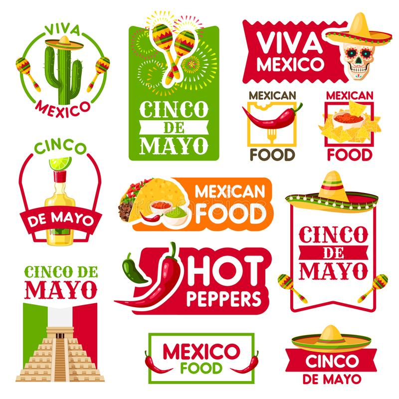 Mexicanska vektorsymboler för Cinco de Mayo ferie royaltyfri illustrationer