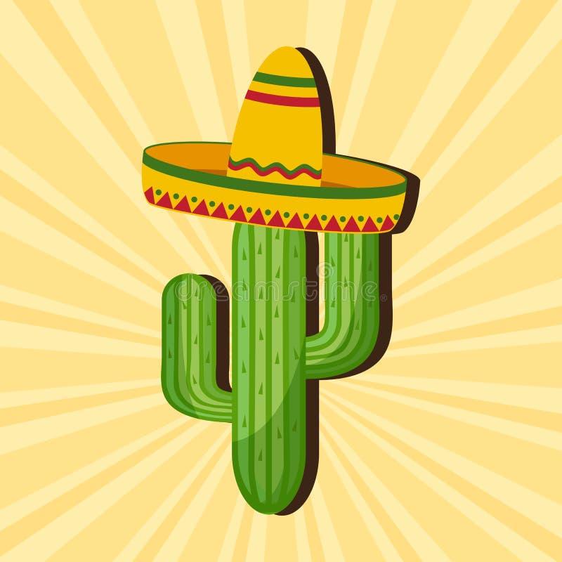 Mexicanskt kort Kaktus i sombrero ocks? vektor f?r coreldrawillustration vektor illustrationer