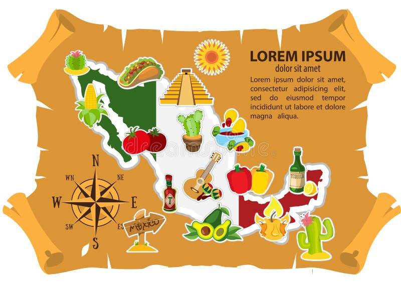 Mexico översiktsillustration för bästa sikt av befordrings- material för turism royaltyfri illustrationer