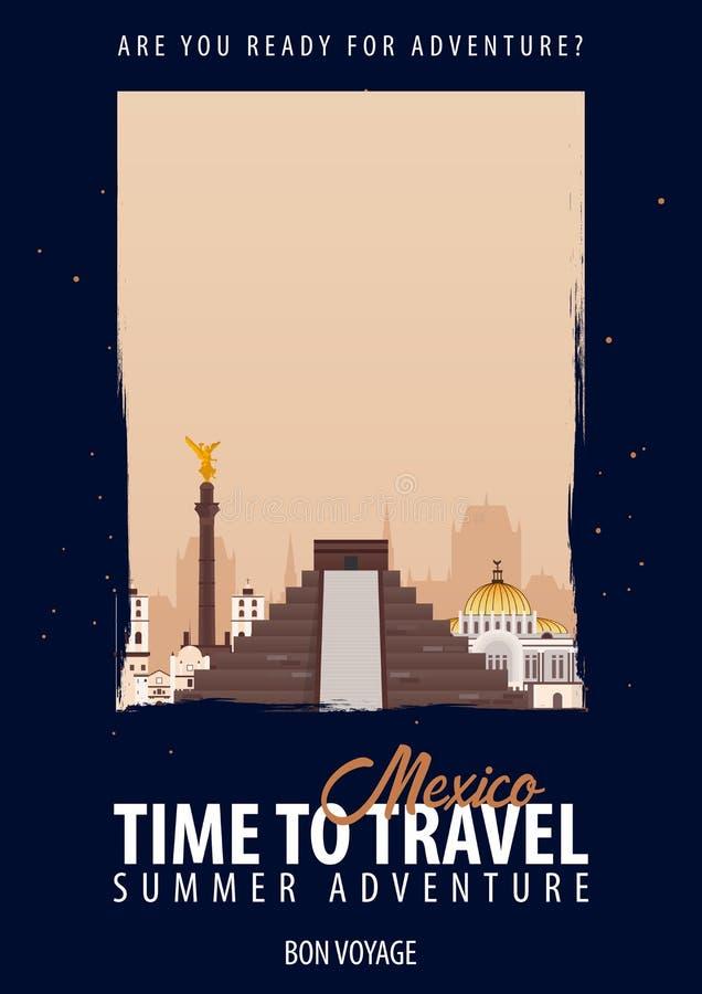 Mexico, Amerika Tijd te reizen Reis, reis, vakantie Uw avontuur Bon Voyage stock illustratie