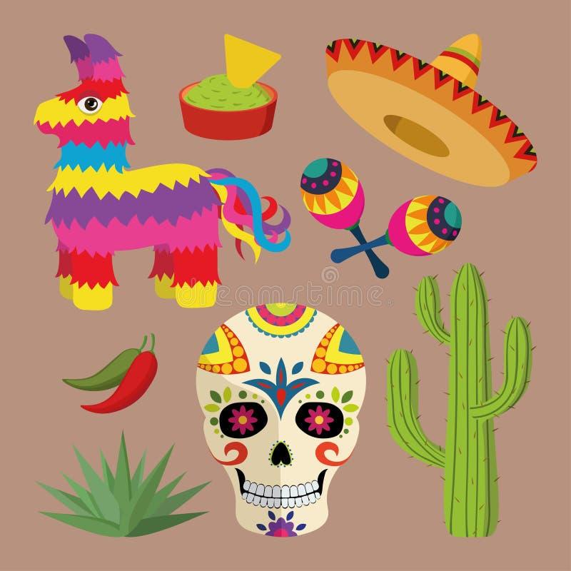Mexico anmärker den ljusa symbolsuppsättningen med den nationella mexikanen: sombreron skallen, agave, kaktuns, pinataen, jalapen royaltyfri illustrationer