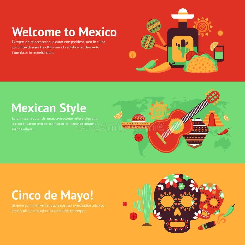 Mexico baneruppsättning stock illustrationer