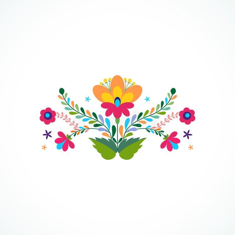Mexico blommaprydnad också vektor för coreldrawillustration royaltyfri illustrationer