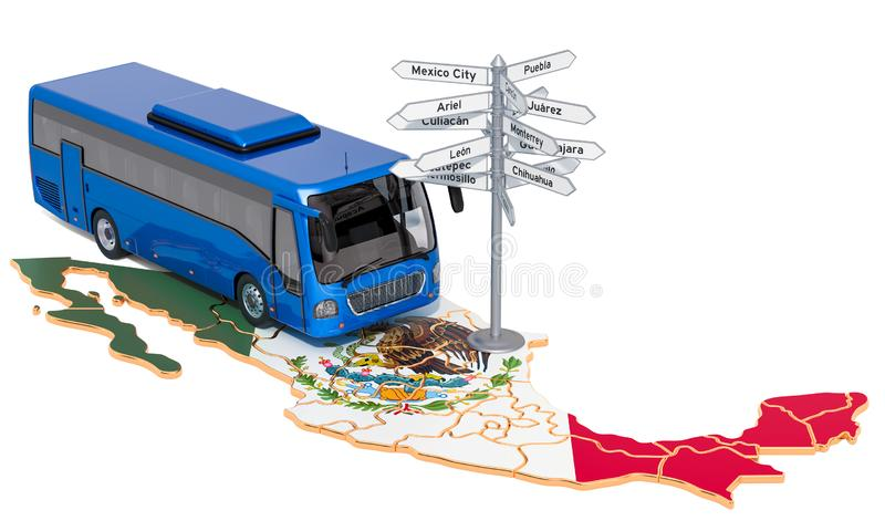 Mexico Bus Tours concept. 3D rendering. Isolated on white background vector illustration