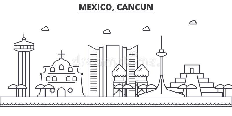 Mexico, Cancun-de horizonillustratie van de architectuurlijn Lineaire vectorcityscape met beroemde oriëntatiepunten, stadsgezicht vector illustratie