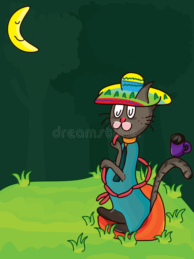 Mexico Cat Lonesome Food_eps Stock Photography