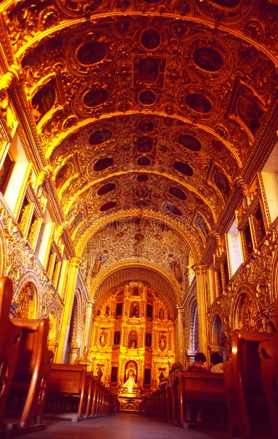 Mexico: The cathedral Church in Oaxaca City. Is rich decorated with gold pattern royalty free stock images