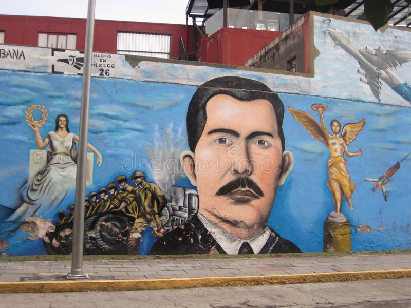 Mexico, center of Puebla city. Graffiti. Center of Puebla city, Mexico. Graffiti culture. Excellent view. It is a mexican culture. Beautiful Mexican streets. Art stock image