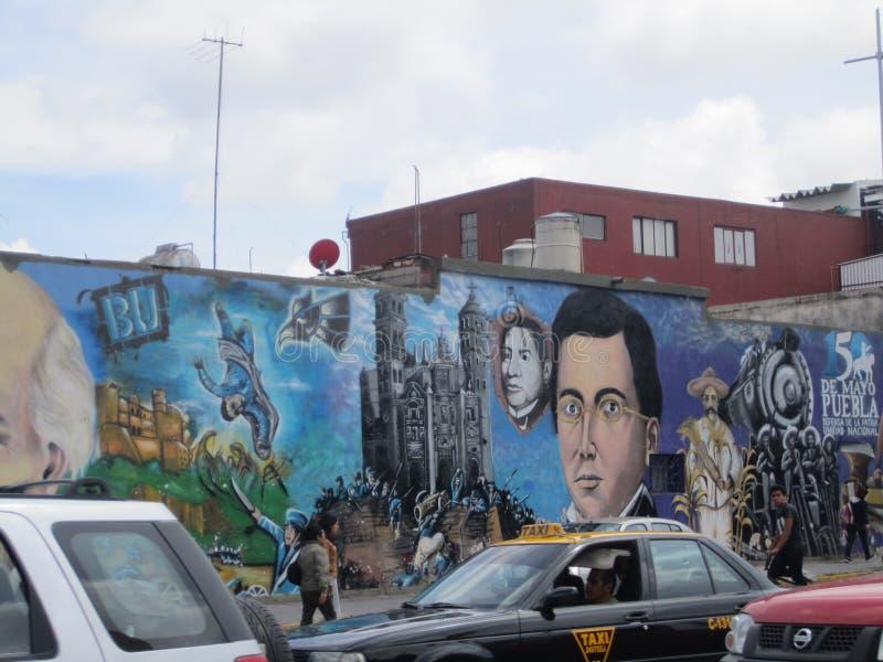 Mexico, centrum van de stad van Puebla graffiti royalty-vrije stock fotografie