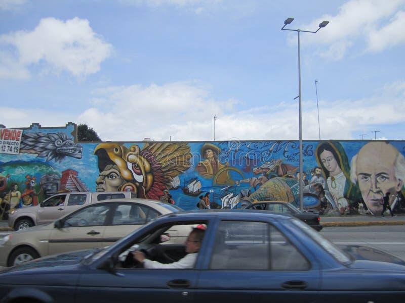 Mexico, centrum van de stad van Puebla Graffitiart. stock foto