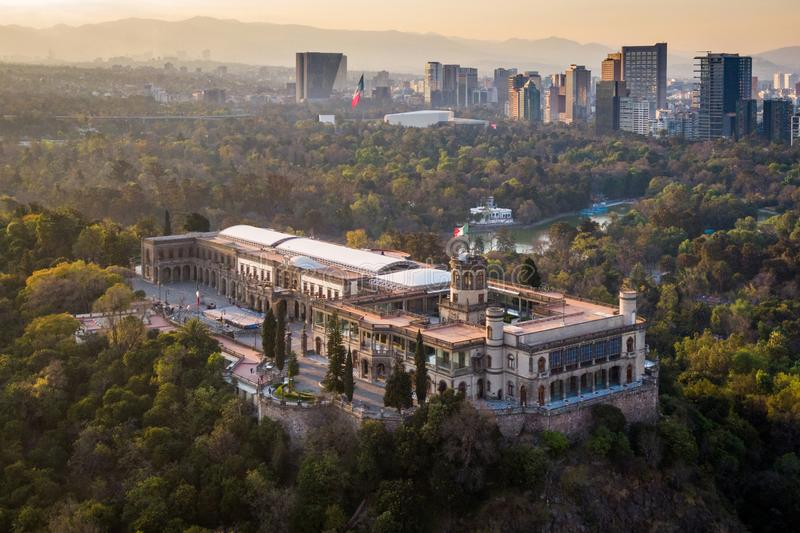 Mexico City, Aerial View of Chapultepec Castle at Sunset royalty free stock photography