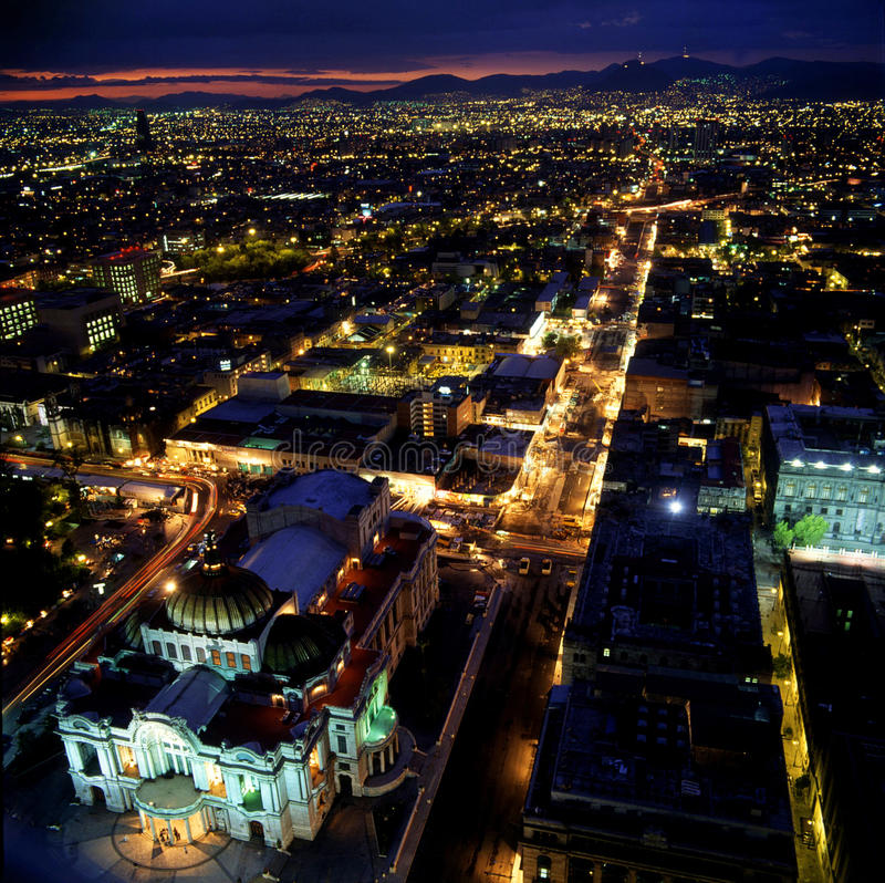 Mexico City al night royalty free stock images