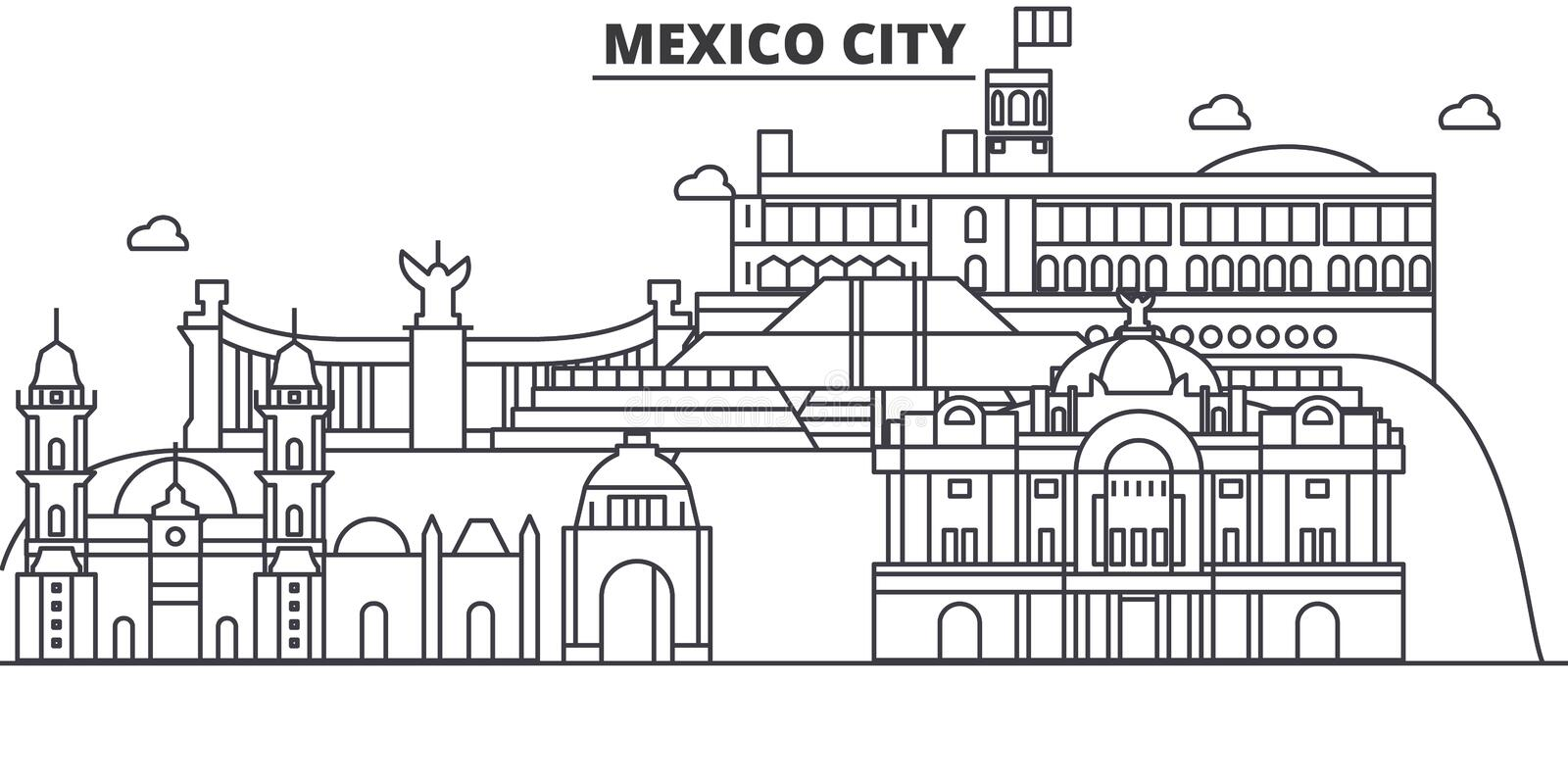 Mexico City architecture line skyline illustration. Linear vector cityscape with famous landmarks, city sights, design. Icons. Editable strokes vector illustration